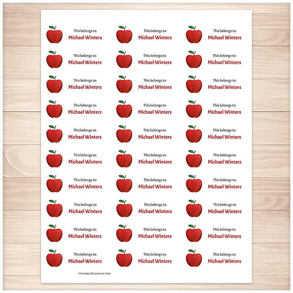 Red Apple Name Labels for School Supplies - Printable Planning
