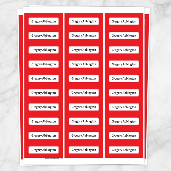 Red Border Name Labels for School Supplies - Printable Planning