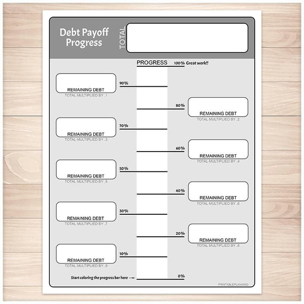 Remaining Debt Payoff Progress Bar Worksheets in Gray - Printable