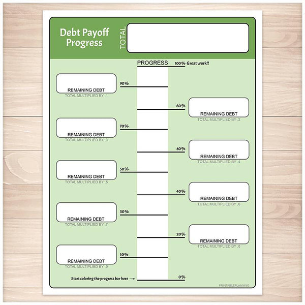 Remaining Debt Payoff Progress Bar Worksheets in Green - Printable