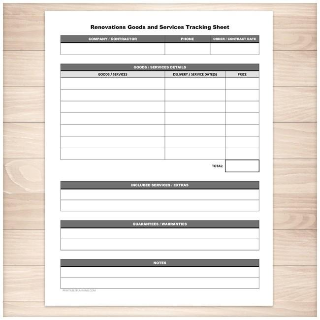 Renovations Goods and Services Tracking Sheet - Printable Planning
