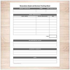 Renovations Goods and Services Tracking Sheet - Printable, at Printable Planning