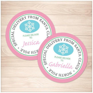 Special Delivery from Santa Claus - Pink Round Personalized Gift Tags or Stickers - Printable, at Printable Planning