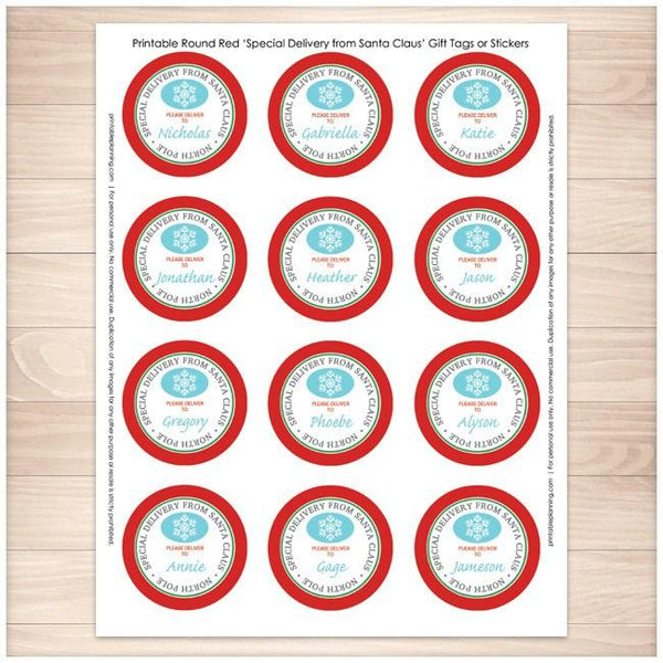 Special Delivery from Santa Claus - Round Personalized Gift Tags or Stickers 12up - Printable Planning