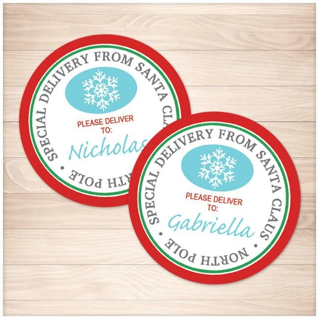 special delivery from santa claus round personalized gift tags or