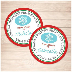 image regarding Printable Santa Tags known as Unique Shipping and delivery towards Santa Claus - Spherical Custom made Present Tags or Stickers - Printable at Printable Creating for simply just 5.00