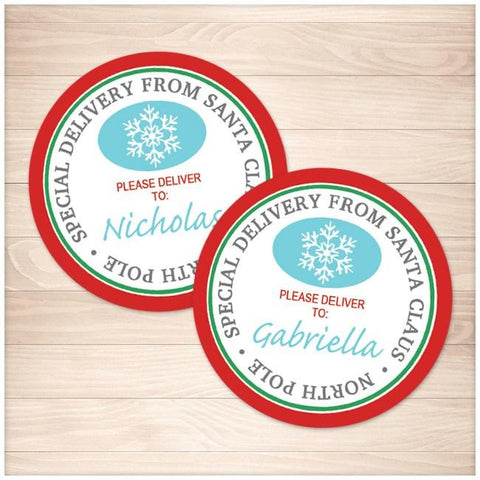 Special Delivery from Santa Claus - Round Personalized Gift Tags or Stickers - Printable, at Printable Planning