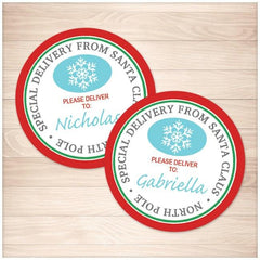 Special Delivery from Santa Claus - Round Personalized Gift Tags or Stickers - Printable Planning