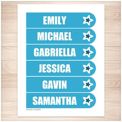 Personalized Blue Star Bookmarks - Printable Planning