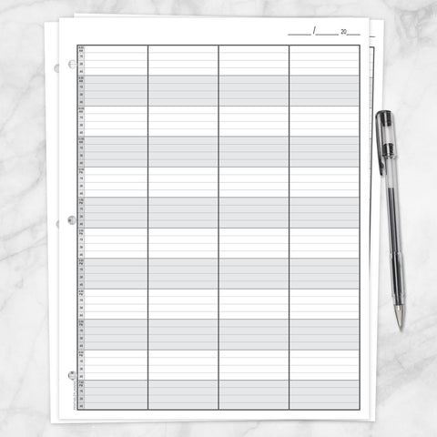 Printable Schedule Sheet in 15 Minute Increments, front and back, at Printable Planning