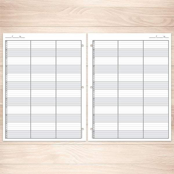 Printable Schedule Sheet in 15 Minute Increments, front and back at Printable Planning
