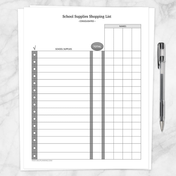Printable School Supplies Shopping List, Consolidated, at Printable Planning