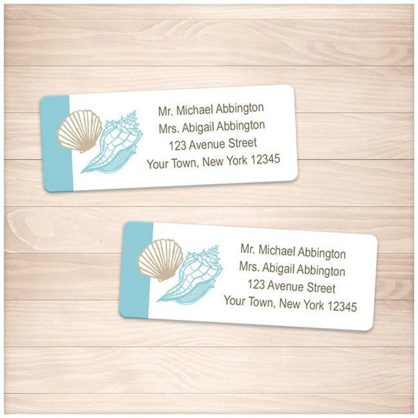 Seashell Turquoise Tan Beach Address Labels - Printable, at Printable Planning