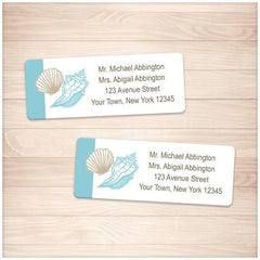 Seashell Turquoise Tan Beach Address Labels - Printable Planning