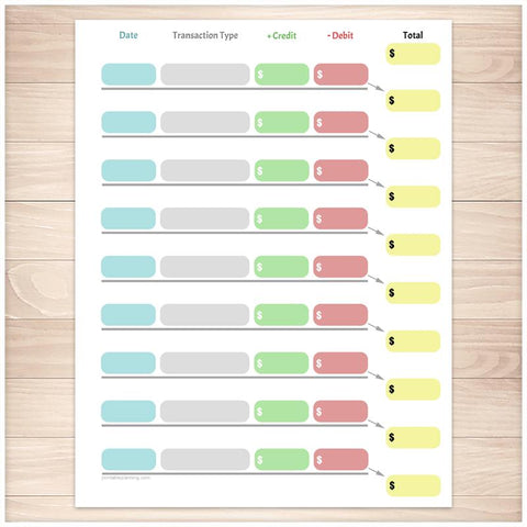 Simple Color-Coded Financial Transaction Register - Printable
