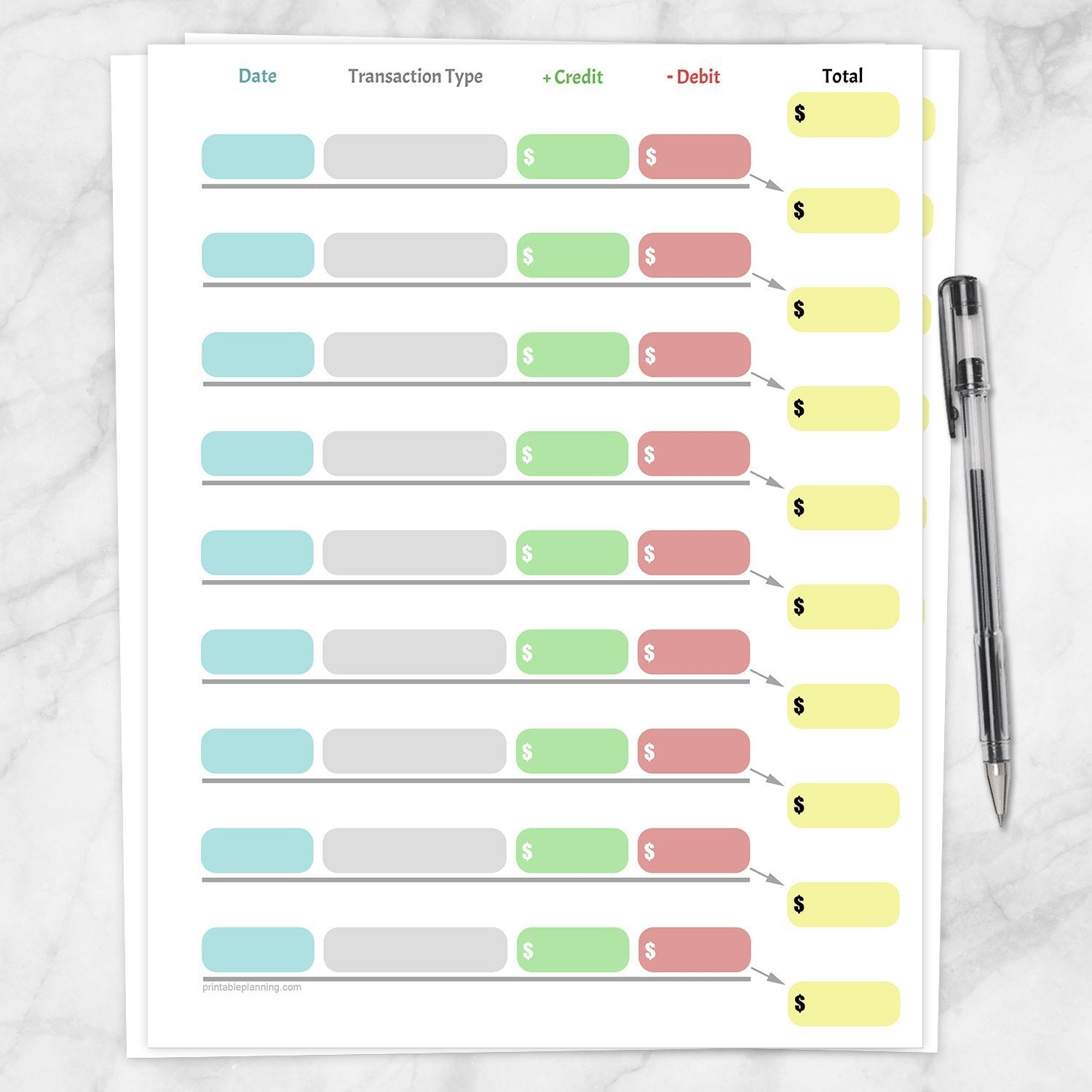 Printable Simple Color-Coded Financial Transaction Register at Printable Planning