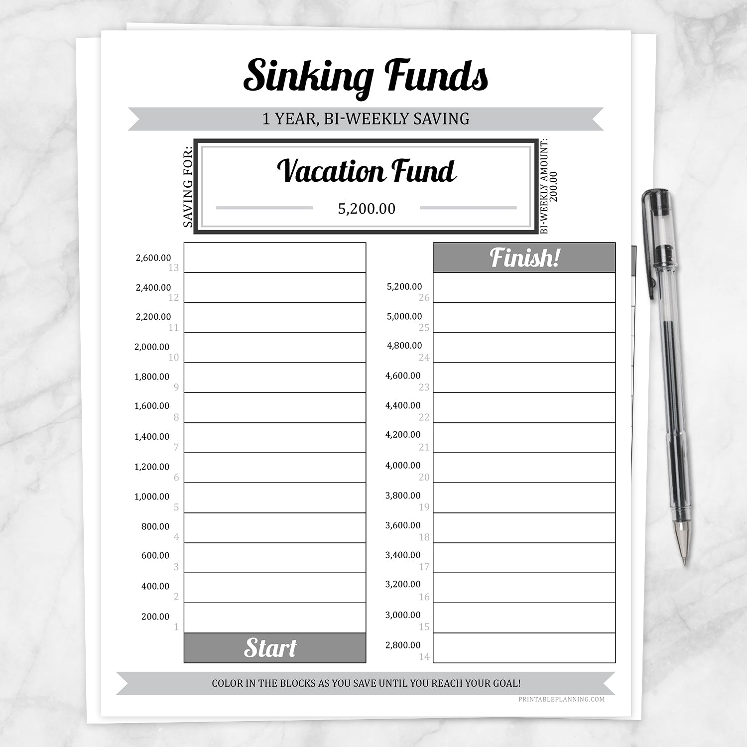 Printable Sinking Funds Savings Chart, 1 Year Bi-Weekly, at Printable Planning