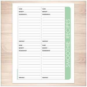 smoothie recipe pages 4 per page green printable at printable