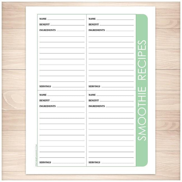 Color Category Recipe Pages BUNDLE - Smoothie Recipe Page - Printable Planning