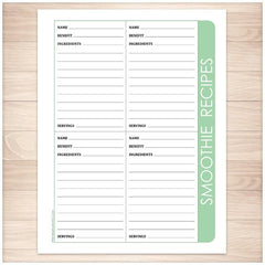 Smoothie Recipe Pages - 4 per page Green - Printable Planning