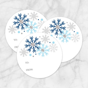 Printable Blue Snowflake Gift Tag Stickers at Printable Planning