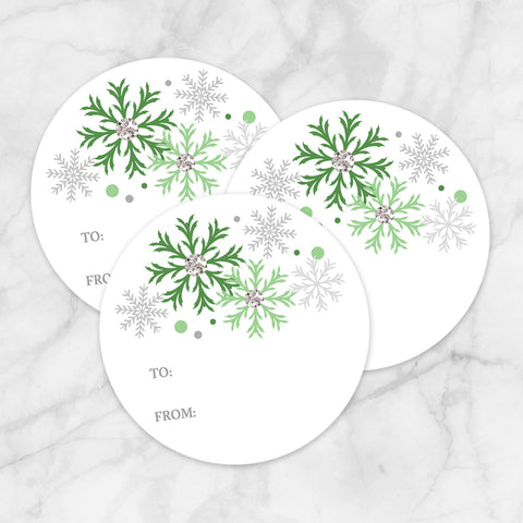 Printable Green Snowflake Gift Tag Stickers at Printable Planning