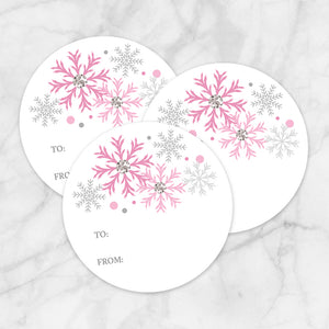 Printable Pink Snowflake Gift Tag Stickers at Printable Planning