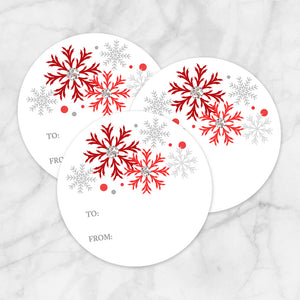 Printable Red Snowflake Gift Tag Stickers at Printable Planning