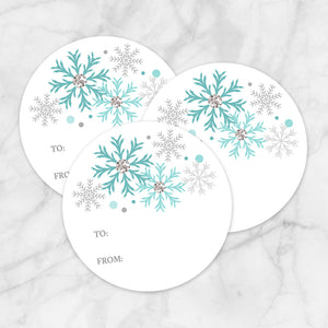 Printable Turquoise Snowflake Gift Tag Stickers at Printable Planning