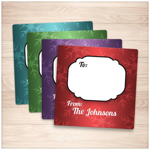 Snowflake Rich Color Personalized Gift Tag Stickers - Printable