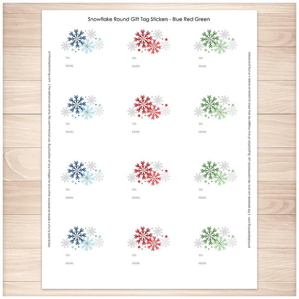 Snowflake Gift Tag Stickers - Blue Red Green - Printable, at Printable Planning