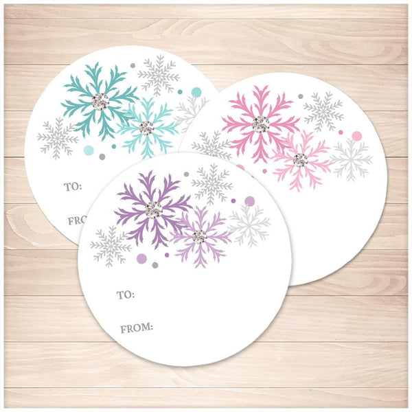 Snowflake Gift Tag Stickers - Turquoise Purple Pink - Printable, at Printable Planning