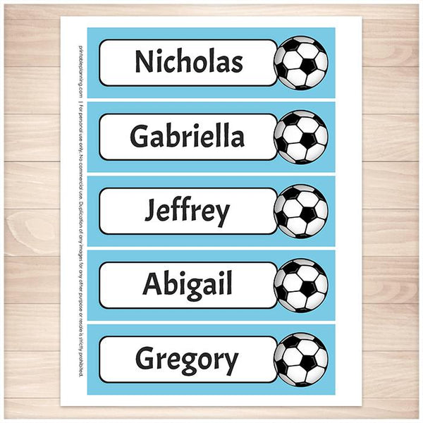 Personalized Soccer Blue Bookmarks - Printable