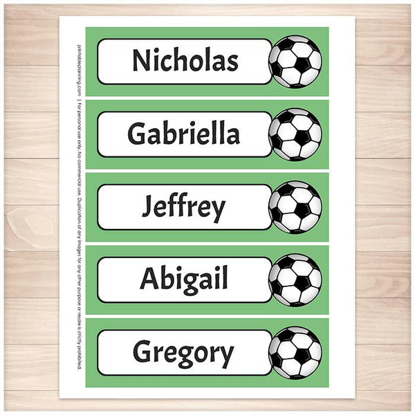 Personalized Soccer Green Bookmarks - Printable