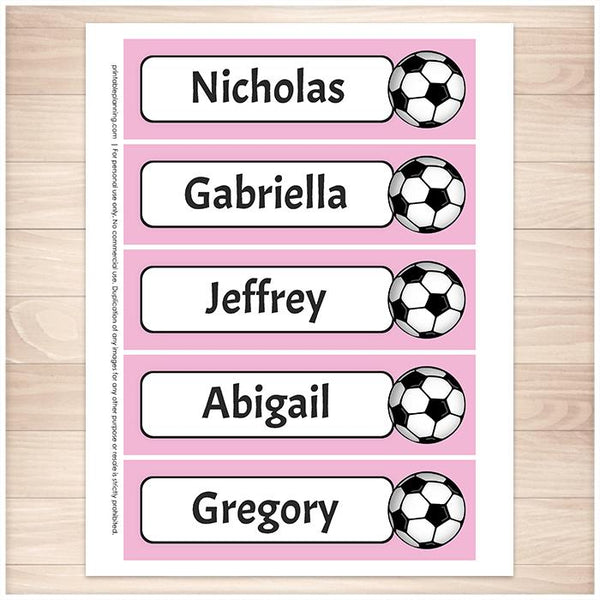 Personalized Soccer Pink Bookmarks - Printable