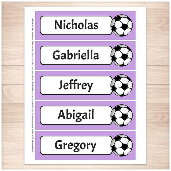 Personalized Soccer Purple Bookmarks - Printable