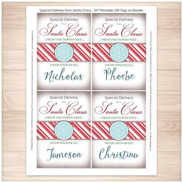 Special Delivery from Santa Claus - Personalized Gift Tags or Stickers 4up - Printable Planning
