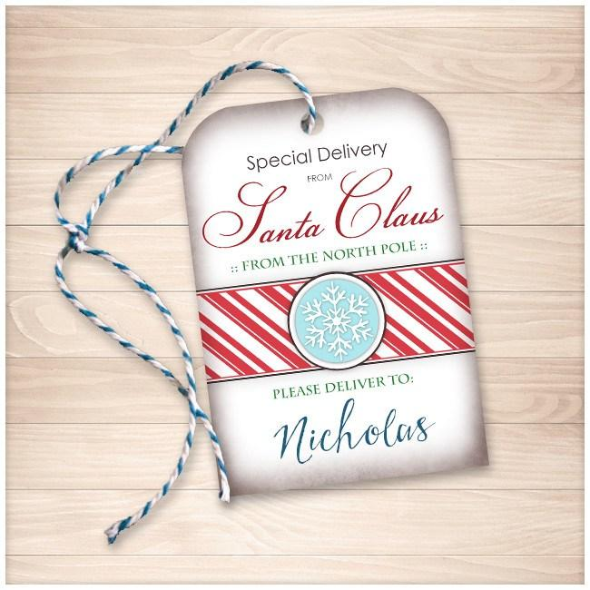 special delivery from santa claus personalized gift tags