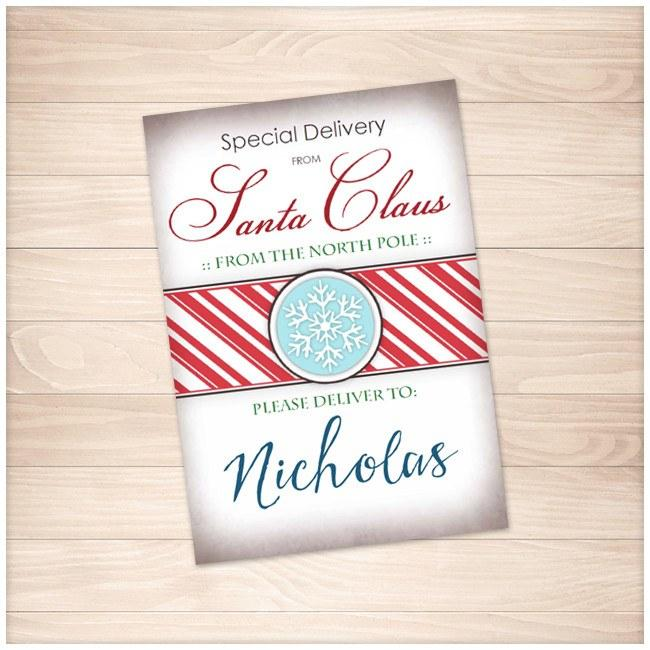 photograph regarding Personalized Gift Tags Printable named Unique Shipping versus Santa Claus - Custom-made Present Tags or Stickers - Printable at Printable Creating for simply 5.00