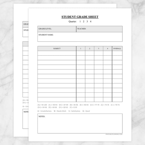 Printable Student Grade Sheet - Quarters or Trimesters, at Printable Planning