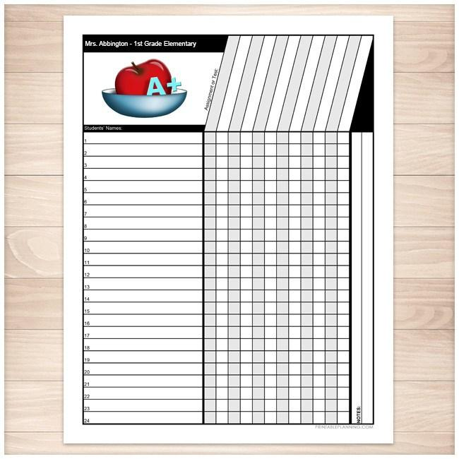 It is a picture of Canny Teacher Grade Book Printable