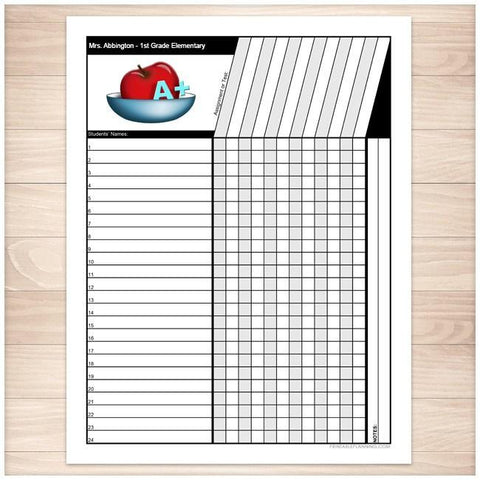 Teachers Grade Sheet - Grade School Elementary Apple - Printable Planning