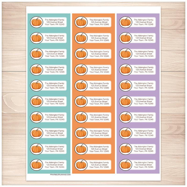 Teal Orange and Purple Pumpkin Address Labels - Printable Planning