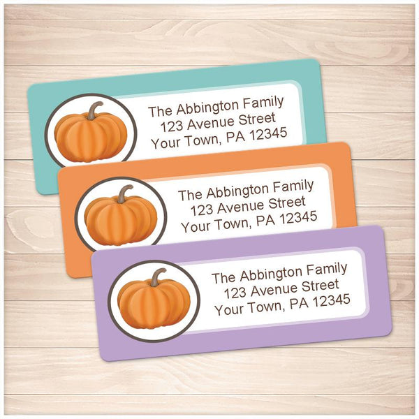 Teal Orange and Purple Pumpkin Address Labels - Printable