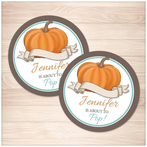 Teal Pumpkin 'About to Pop' Personalized Favor Stickers - Printable