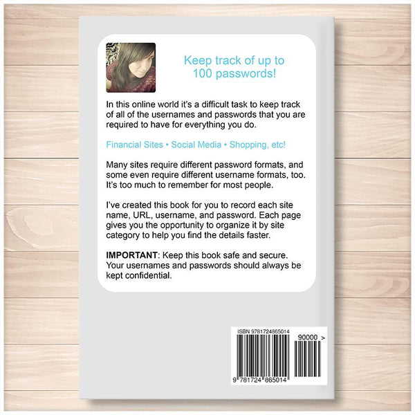 The Usernames and Passwords Book: Keep Track, Stay Organized (Published Book) BACK COVER