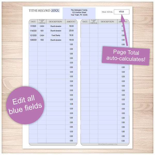 Printable Tithe Record with Auto-Calculating Total at Printable Planning