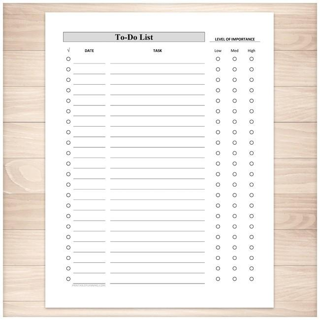 Full Page To-Do List - Level of Importance Column - Printable, at Printable Planning