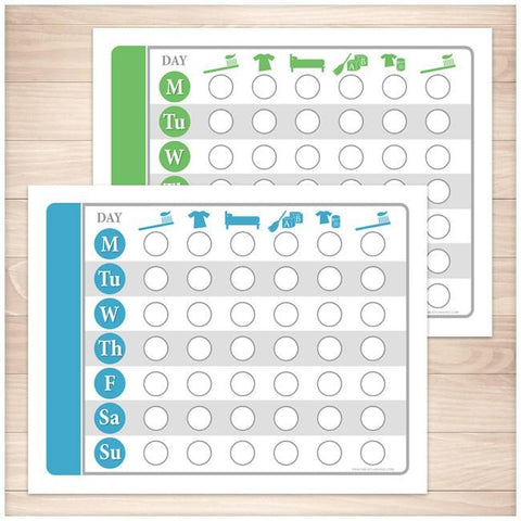 Toddler Chore Chart BUNDLE - Blue Green Daily Routine Weekly Pages - Printable Planning