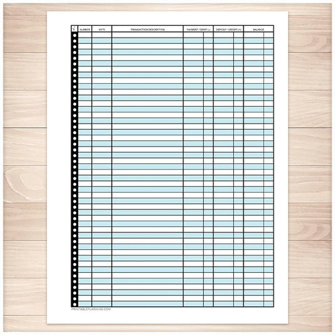 Financial Transaction Register, Blue - Full Page - Printable